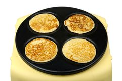 Pancakes on Griddle Stock Photo