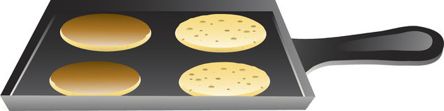 Pancakes on a griddle Stock Photo