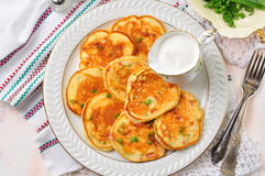 Pancakes with ham, cheese, green onions and sour cream Stock Photos