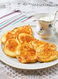Pancakes with ham, cheese, green onions and sour cream Royalty Free Stock Photo