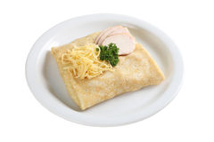 Pancakes with ham and cheese Royalty Free Stock Photo