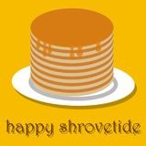 Pancakes happy pancake day. On a yellow background Royalty Free Stock Photo