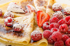 Pancakes with homemade balsamic reduction and fresh fruit Royalty Free ...