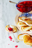 Pancakes and homemade cherry jam Stock Image