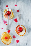 Pancakes and homemade cherry jam Royalty Free Stock Photography