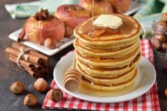 Pancakes with honey stock image