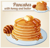 Pancakes with honey and butter. Cartoon vector icon Stock Photo