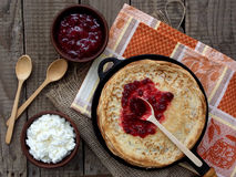 Pancakes. With honey and cheese royalty free stock images