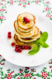 Pancakes with honey. And cranberries for breakfast on Valentine's Day Royalty Free Stock Images