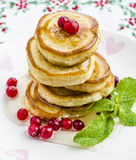 Pancakes with honey. And cranberries for breakfast on Valentine's Day Stock Photos