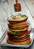 Pancakes with Honey Dipper Royalty Free Stock Image