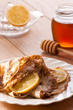 Pancakes With Honey & Lemon Stock Image