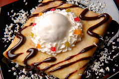 Pancakes with ice-cream Royalty Free Stock Photos
