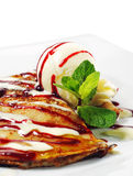 Pancakes with Ice Cream Royalty Free Stock Photos
