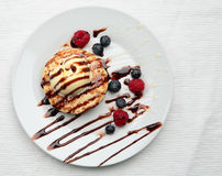 Pancakes with Ice Cream Royalty Free Stock Photography