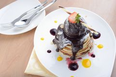 Pancakes with ice cream Royalty Free Stock Image