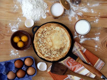 Pancakes. And ingredients for royalty free stock photo