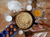 Pancakes. And ingredients for stock images