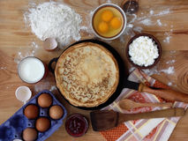 Pancakes. And ingredients for royalty free stock photos