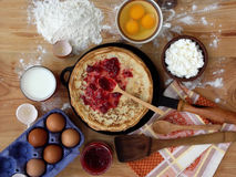 Pancakes. And ingredients for royalty free stock images