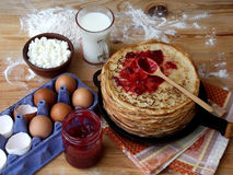Pancakes. And ingredients for royalty free stock image