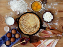 Pancakes. And ingredients for stock image