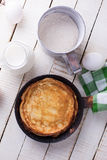 Pancakes and ingredients for it Royalty Free Stock Image