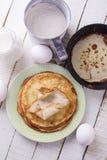 Pancakes. Ingredients for pancakes. Royalty Free Stock Photos