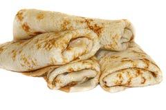 pancakes isolated on a white backgro Stock Photo