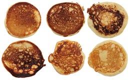 Pancakes isolated on a white background. Set. Stock Image