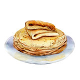 The pancakes isolated on white background, watercolor illustration Royalty Free Stock Image