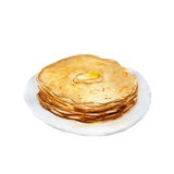 The pancakes isolated on white background, watercolor illustration Stock Image