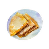 The pancakes isolated on white background, watercolor illustration Royalty Free Stock Images
