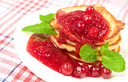Pancakes with jam Stock Image
