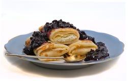 Pancakes with jam Royalty Free Stock Photo