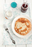 Pancakes with jam. For breakfast stock photo