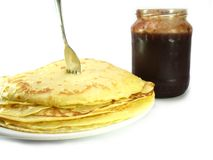 Pancakes with jam. Ajnd fork Stock Photography