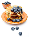 Pancakes with jam and bilberries Royalty Free Stock Image