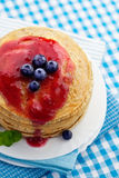 Pancakes with jam Stock Photography