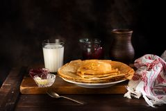 Pancakes on rustic background Stock Image