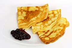 Pancakes with jam from a cherry Royalty Free Stock Images
