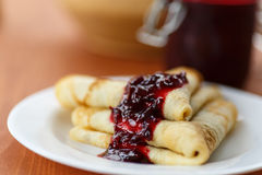 Pancakes with jam Royalty Free Stock Photos