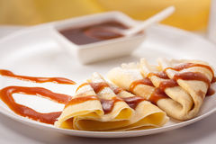 Pancakes with jam and sugar powder. Pancakes decorated jam and sugar powder Stock Photography