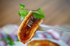 Pancakes with jam Stock Image