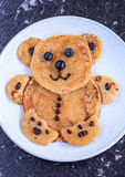 Pancakes for kids. Pancakes served as a teddy to delight kids stock photography