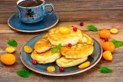 Pancakes with Kumquats and Cranberries. Studio Photo Stock Photos