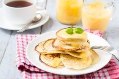 Pancakes with lemon curd Stock Photo