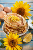 Pancakes with lemon Stock Photo
