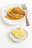 Pancakes with lemon slices Stock Photos
