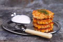 Pancakes made ​​from corn and fork Royalty Free Stock Photos
